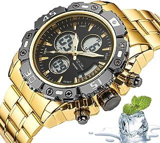 Digital Watch Men Waterproof, Stainless Steel Analog Digital Wrist Watch Multifunction LED Alarm Stopwatch Military Watche...
