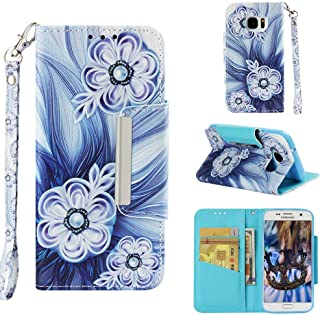 Firefish Case for Galaxy S7,Slim Durable 3D Printing PU Leather Wallet Case with Magnetic Closure & Wrist Strap Credit Card Holder Inner Soft TPU Bumper Compatible with Samsung Galaxy S7 -Bead Flower
