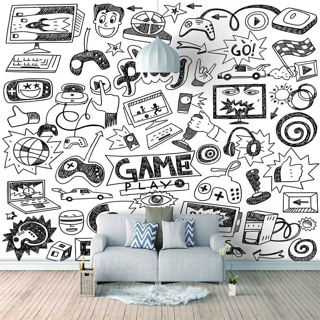 FVGKYS Mural Wallpaper 3D Self-Adhesive Cartoon Wall Decals San Antonio Mall sold out Game