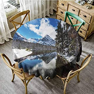 ScottDecor Winter Dinning Tabletop Decoration Tranquil View of Glacier National Park in Montana Water Reflection Quiet Peaceful Patio Round Tablecloth Diameter 70