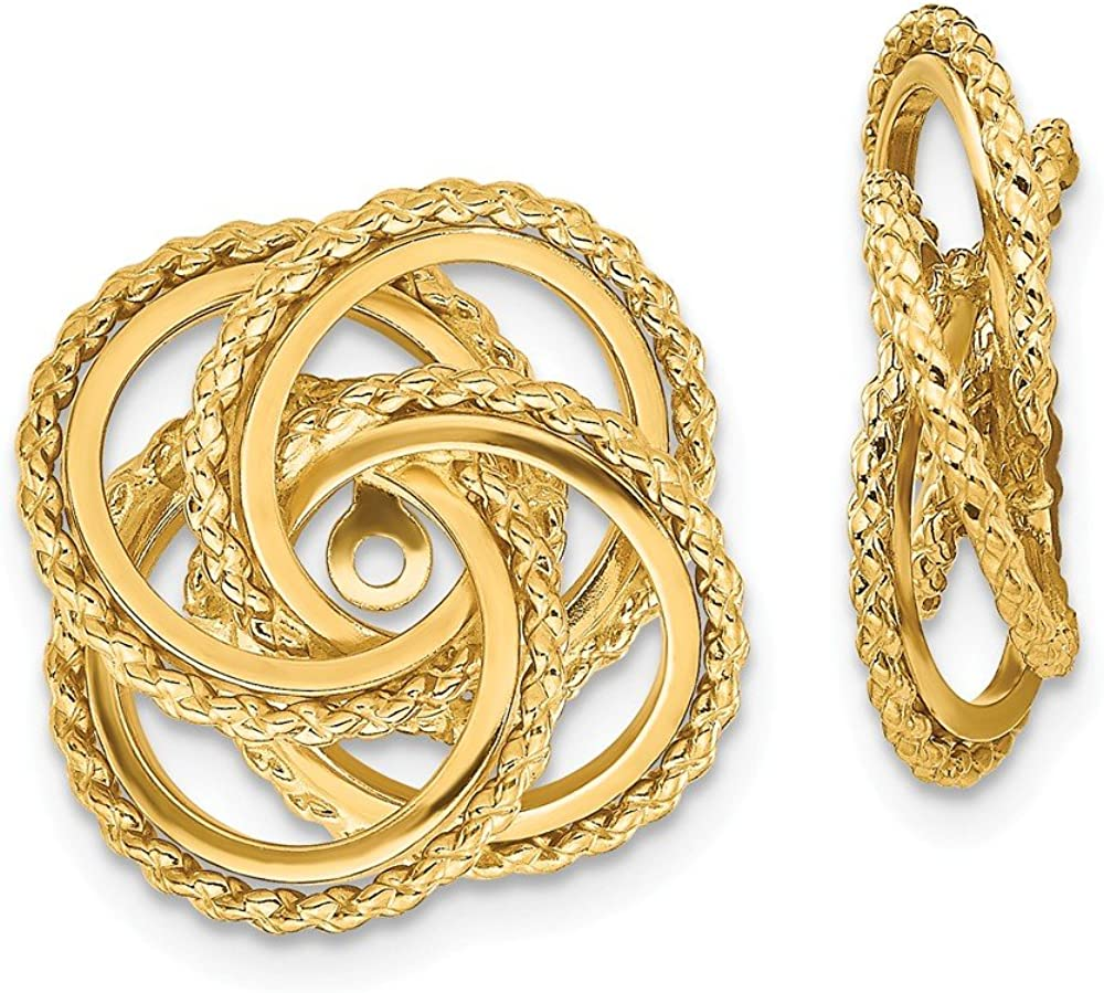 Solid 14k Yellow Gold and Twisted Unique Earring Jackets 11mm