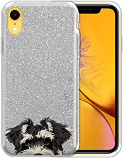 FINCIBO Case Compatible with Apple iPhone XR 6.1 inch, Shiny Sparkling Silver Bling Glitter TPU Protector Cover Case for iPhone XR - Schnauzer Puppy Dog
