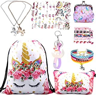 RLGPBON Gifts for Girls Unicorn Drawstring Backpack,Makeup Bag,Unicorn Jewerly Necklace Bracelet,Hair Ties