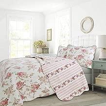 Cozy Line Home Fashions Flora Print Pattern Cotton Reversible Coverlet Bedspread Quilt Bedding Set (Pink Rose, Queen - 3 Pieces)