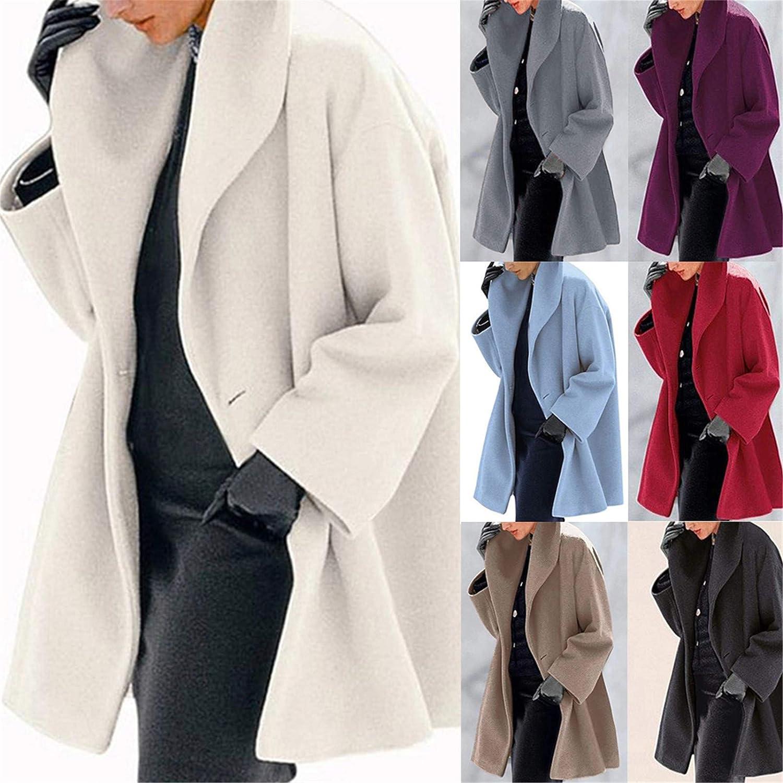 OranDesigne Damen Wollmantel Trenchcoat Jacke Lang Warm Wintermantel Übergangs Jacke Parka mit Reverskragen Blau X-Small Weiß
