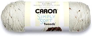 Caron Simply Soft Tweeds Yarn (4) Medium Gauge 100% Acrylic - 5oz -   Off White -  Machine Wash & Dry