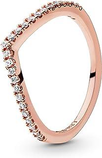 Pandora Jewelry Sparkling Wishbone Cubic Zirconia Ring in Pandora Rose, Size 3.75