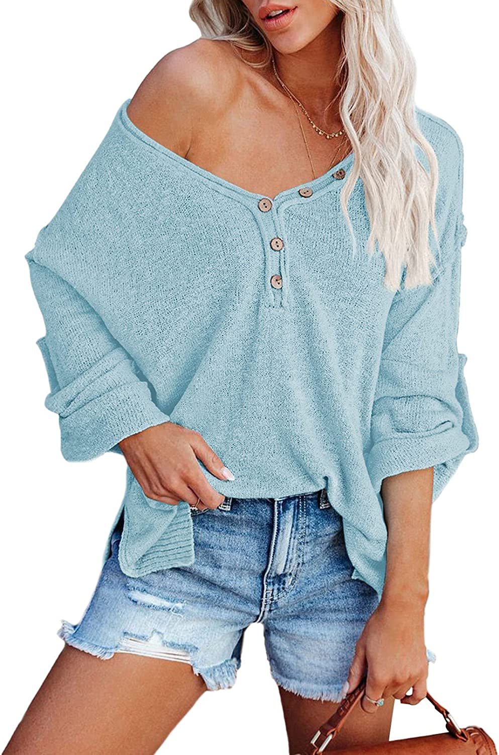 Pink Queen Women's V Neck Knit Sweater Oversized Button Long Sleeve Pullover Tops