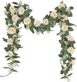 U'Artlines Lot de 2 Guirlande de Rose Thé Artificielles avec Feuille de Lierre Simulation Rose Fleurs Artificielles à Susp...