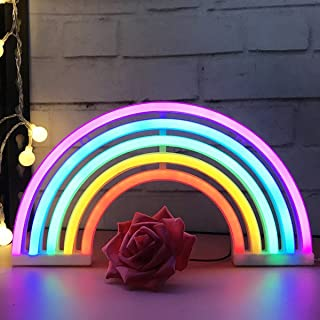AIZESI Rainbow Neon Light Sign,Rainbow Light Lamp Rainbow Gifts Decor,Marquee Battery or USB Operated Wall Decoration for Girls Bedroom,Living Room,Christmas,Party as Kids Gift(Rainbow) ¡