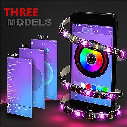Kreema 4 x 0.5M RGB LED bande Light App BT Control color/é Sync /à la musique minuterie flexible fort adh/ésif DIY Kit r/étro-/éclairage TV