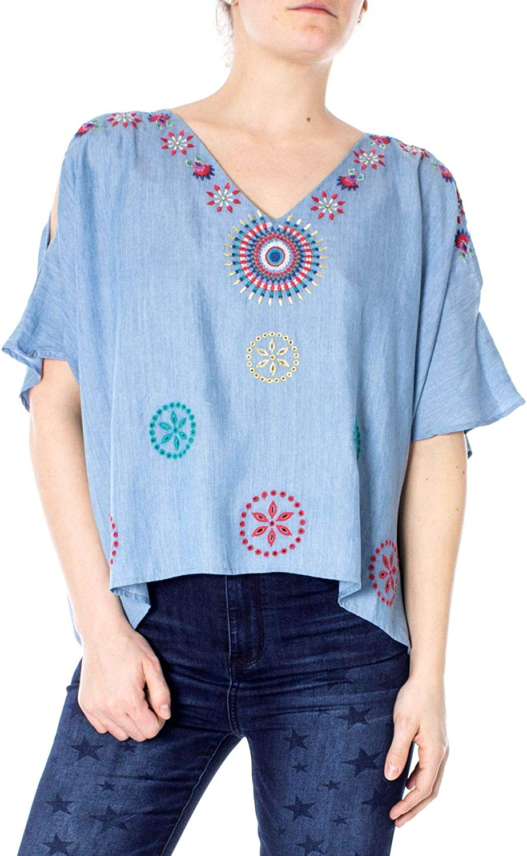 Desigual Women's 19SWBD04LIGHTblueE Light bluee Silk Blouse