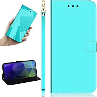 Mylne Mirror Effect Leather Case for Sony Xperia 5,Slim PU Makeup Standing Cover Flip Folding Kickstand Protective Bumper Case,Green