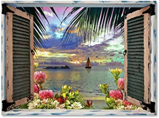 Tropical Window to Paradise III by Leo Kelly, 24x32-Inch Canvas Wall Art