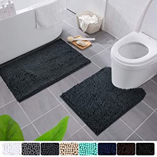 Smiry Bathroom Rugs and Mats Set, 2 Piece Chenille Bath Mat and U-Shaped Toilet Rug Set, Machine Wash Non Slip Absorbent Shaggy Bath Rug for Shower and Bath Room (20 x 32+20 x 24, Charcoal Gray)