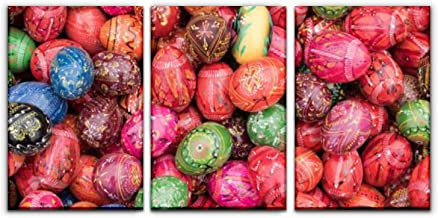 SALIZEN Traditional Hand Painted Wooden Eggs, 2018 Easter Market, Krakow, 3 Pieces Wall Art Paintings Easter Eggs Perfect Canvas Art Vivid Color Home, Living Room, Bedroom, Hotel Decoration Gift