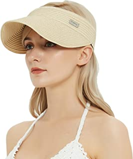 IKEPOD UPF 50 Paper Braid Visor Hat - Brim Roll-up Foldable Adjustable Summer Sun Cap for Women/Men, One Size