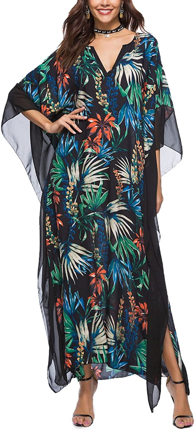 Ccassie Womens Casual Summer VNeck Bat Sleeves Floral Loose Maxi Long Dress Beach Swim Suit Cover up