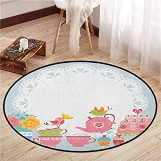 Living Room Round Rugs,Tea Party,Two Birds Enjoying Tea and Various Sweets Pale Colored Image Bouquet of Flowers,Sofa Coffee Table Mat,4'7