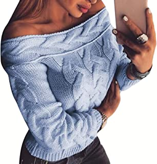 Womens Long Sleeve Casual Off Shoulder Pullover Loose Knitted Jumper Sweater Sweatshirt