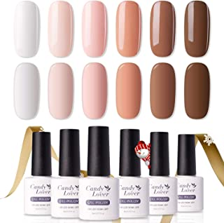 Candy Lover Popular Gel Nail Polish, Foundation Sexy Brown White Pastel Series UV LED 6 Colors Selected Set, Soak Off Nail Gel Polish Home Manicure Varnish Kit