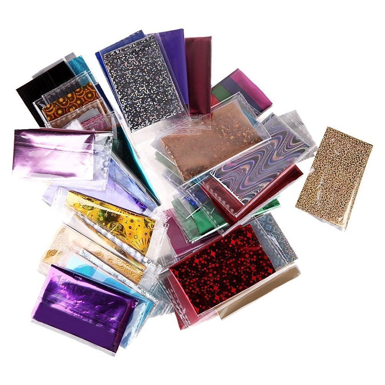 異形区別箱SODIAL 50xランダムな色のフォイルギャラクシーネイルステッカーペーパー キラキラする装飾アイテム