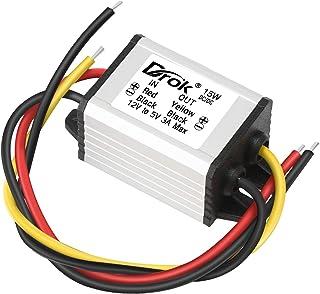 12v to 5v DC Converter, DROK Voltage Regulator Board Power Supply Module, DC 6.3-22V 12V to 5V 3A 15W Waterproof Car Volt ...