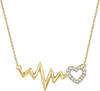 Round Cut Natural White Diamond Heartbeat Pendant Necklace in 14K Solid Gold