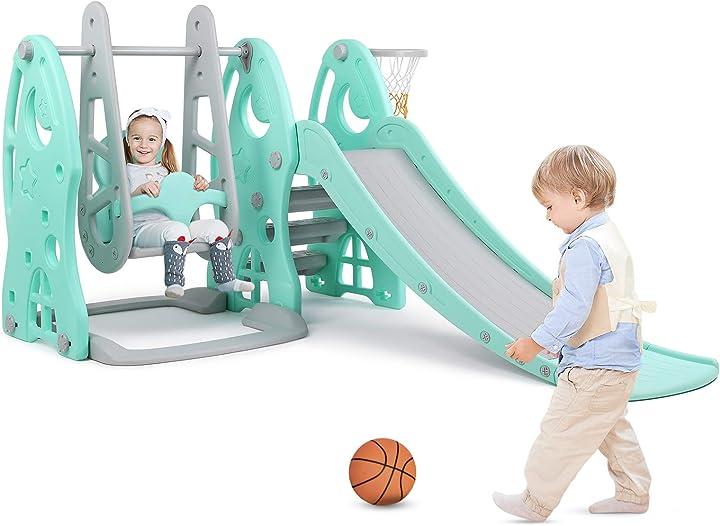 Scivolo per bambini con altalena, stabile, sicura giocattoli per bambini per giardino esterno bamny B08SJNWKGV