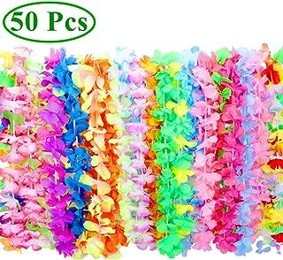 Hawaiian Leis FunToy 50 Counts Tropical Hawaiian Luau Flower Leis for Adults and Kids Party Favors (Soft Fabric)