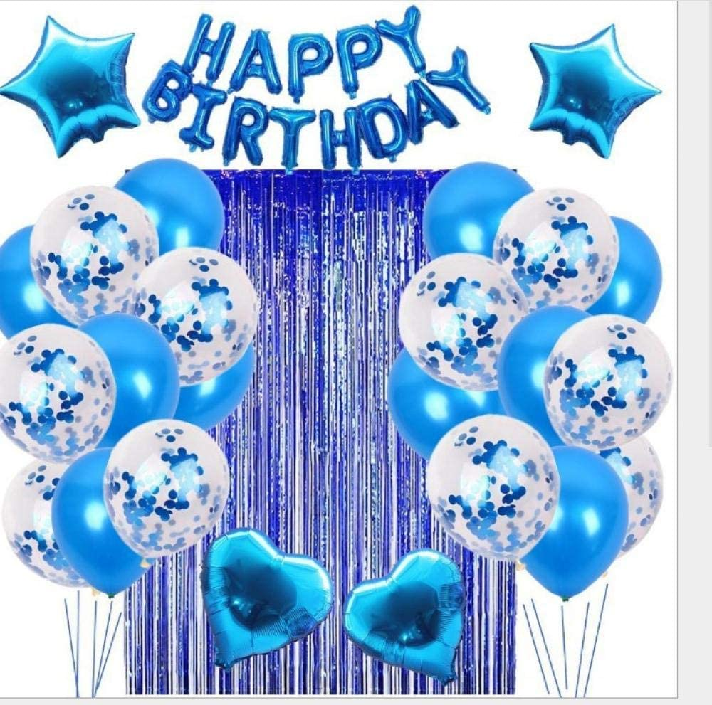 GoEoo Happy Birthday Balloons Backdrop 10x7ft Vinyl Photography Background Colorful Balloons Flags Decoration Confetti Blue Background Party Shoot