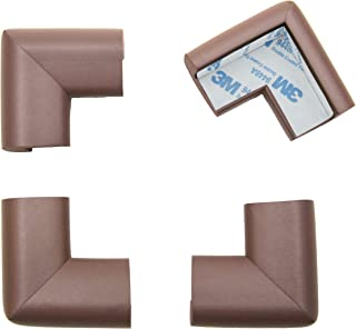 Roving Cove Corner Guards (4 Pack), Furniture Corner Edge Safety Bumpers, 3M Pre-Taped, Coffee Brown, Heavy-Duty: 20 Durometer Density / 0.4-inch Thick