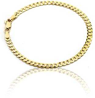 ab5cee524 Floreo 10k Fine gold Curb Cuban Chain Bracelet and Anklet, 0.16 Inch (4mm)