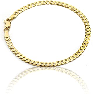 Floreo 10k Fine gold Curb Cuban Chain Bracelet and Anklet, 0.16 Inch (4mm)