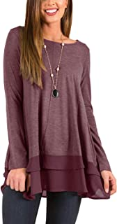 Twinklady Women's Scoop Neck Long Sleeve Button Side T-Shirt Tunic Dress