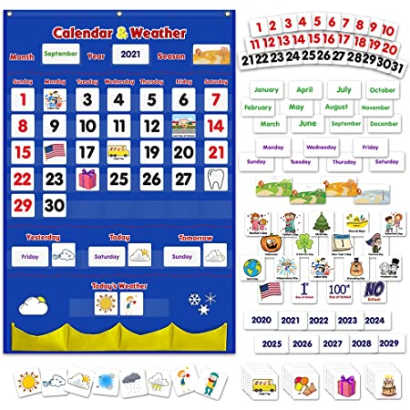 Godery Calendar and Weather Pocket Chart, Classroom Organized Chart, 149 Pieces