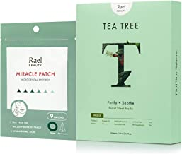 Rael Microneedle Acne Healing Patch (14mm, 9 Count) & Rael Bamboo Facial Sheet Mask (Tea Tree, 5 Count)