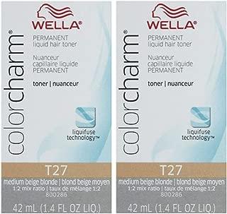 Wella Color Charm Hair Toner T27 Medium Beige Blonde 1.4 oz (2 Pack)