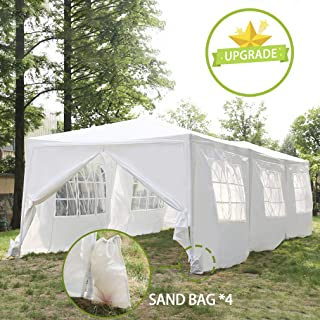 FDW Party 10'x30' Wedding Tent Patio Gazebo Outdoor Carport Sunshade Shelter Pavilion with 8 Removable Side Wall, White