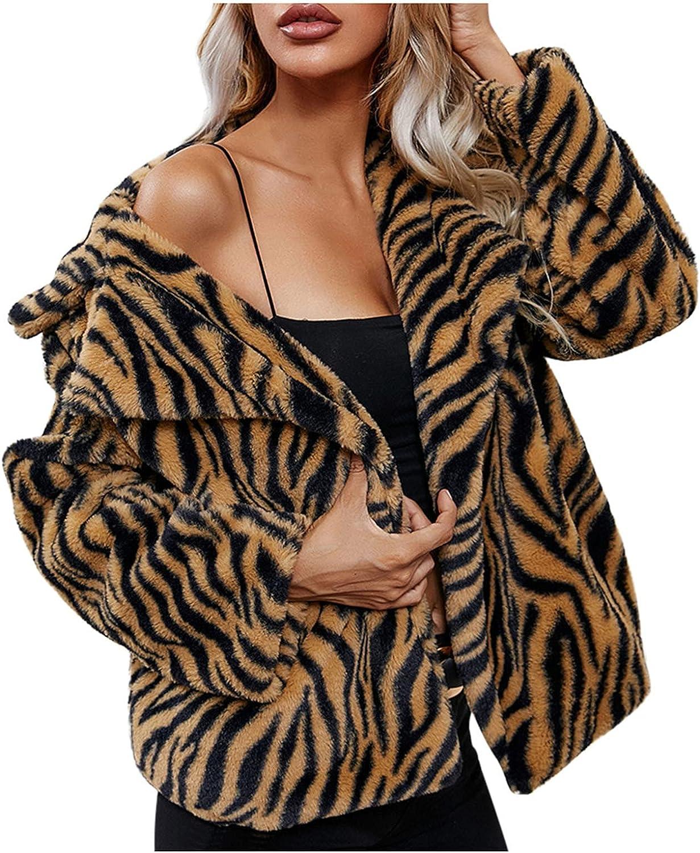 iLUGU Women's Winter Warm Faux Fur Turndown Tiger Cardigan Jacket Long Sleeve Coat Jacket