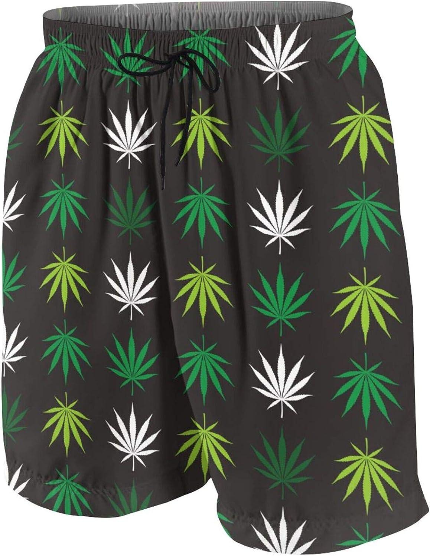 Marijuana Cannabis Weed Leaf Boys Swim Trunks Quick Dry Beach Board Swim Shorts Swimsuit Swimwear from 7T to 18