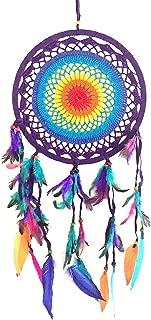 OMA Chakra Rainbow Dream Catcher - Multi Color Crochet Boho Hippie Style Feather Dream Catcher - 10