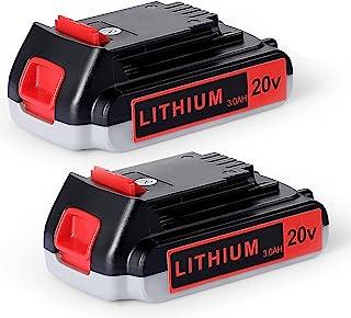 Orstaimer 2 paquetes de batería de litio de 3.0 Ah 20 V compatible con Black and Decker LB20 LBX20 LBXR2020-OPE LBXR20B-2 LB2X4020 LST220