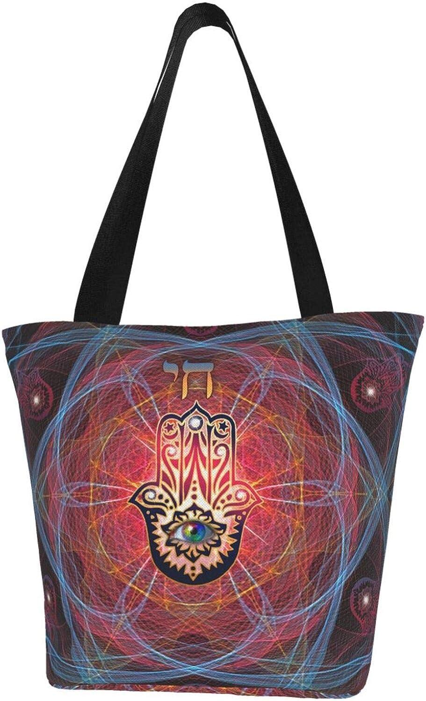 Hamsa Hand Faith Star Of David Themed Printed Women Canvas Handbag Zipper Shoulder Bag Work Booksbag Tote Purse Leisure Hobo Bag For Shopping