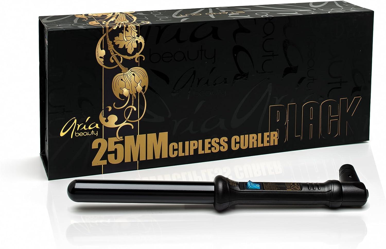 Aria Beauty 25mm Clipless Curler Black–Rizador de pelo 25mm color negro–garantía de vida