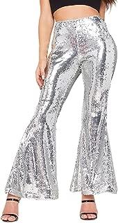 Vimoisa Women Sequin Pants High Waisted Flares Wide Leg Pants Trousers
