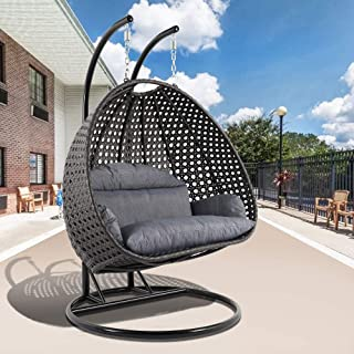 LeisureMod Wicker 2 Person Double Hanging Swing Egg Chairs Patio Indoor Outdoor Use Lounge Chair (Charcoal Blue)
