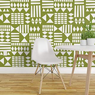 olive green geometric wallpaper