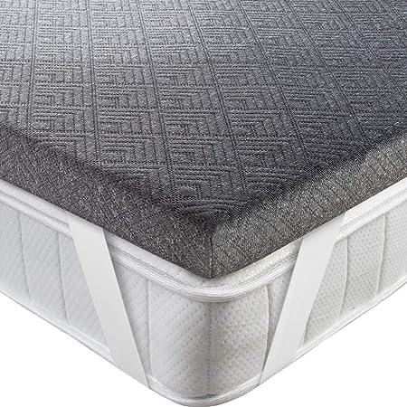 BedStory Topper Viscoelastico 150x190x5cm Topper Colchón con Carbón de Bambú Antiácaros y Transpirable Sobrecolchón Viscoelastico con Funda Desmontable y Lavable