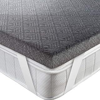 BedStory [Infusión de Bambú Topper Colchón 135x190x5cm con Infusión de Bambú, Antiácaros y Transpirable, Sobrecolchón Viscoelastico con Cubierta Desmontable y Lavable